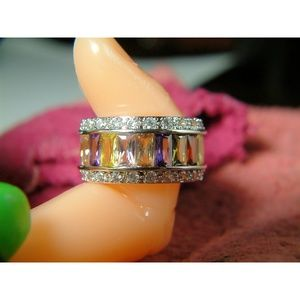 Windcharmers Jewelry - Multicolor Platinum Ring Set With CZ